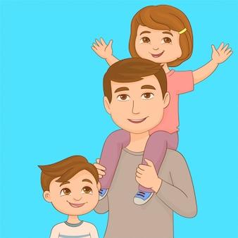 Papá con su hijo y su hija en sus brazos.