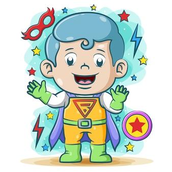Papá de superhéroes usando el súper disfraz eléctrico con las estrellas a su alrededor