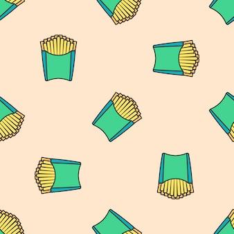 Papas fritas de color de patrones sin fisuras