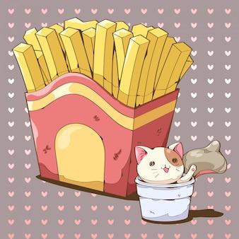 Papas fritas y dibujos animados de salsas con salsa de salpicaduras de gato.