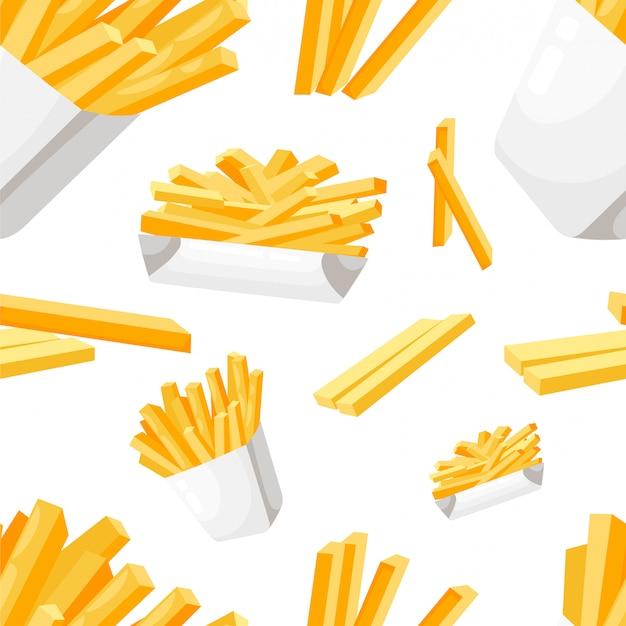 Papas fritas de patrones sin fisuras en la ilustración de comida rápida de estilo de caja de papel blanco en la página del sitio web de fondo blanco y aplicación móvil