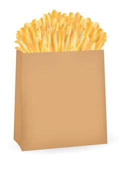 Papas fritas reales en un paquete de papel marrón