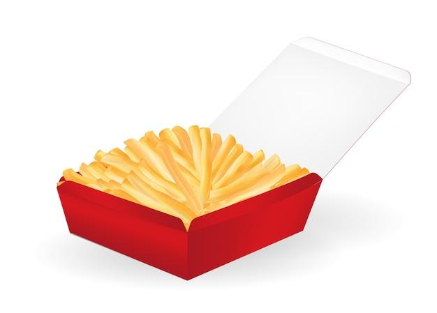 Papas fritas reales en un vector de paquete de caja roja