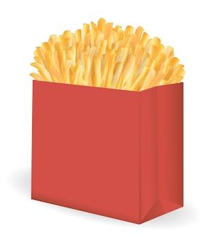 Papas fritas reales en un vector de paquete cubo rojo