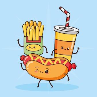Papas fritas, refrescos y hot dog, comida rápida kawaii, ilustración