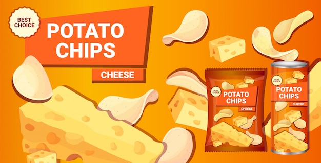 Papas fritas con sabor a queso composición publicitaria de papas fritas naturales y empaque
