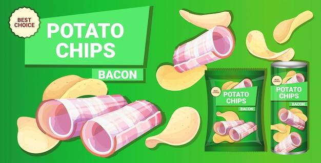 Papas fritas con sabor a tocino composición publicitaria de papas fritas naturales y empaque