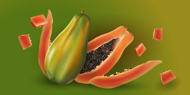 Papaya entera y en rodajas