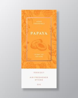 Papaya fragancia casera resumen vector etiqueta plantilla boceto dibujado a mano flores hojas de fondo y ...