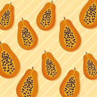 Papayas naranja patrón colorido diseño