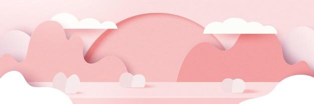 Papel 3d cortado fondo abstracto del día de san valentín. amor y corazón en la geometría del paisaje de la naturaleza rosa.