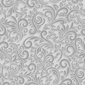 Papel 3d floral de patrones sin fisuras, fondo de papel de vector