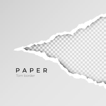 Papel abierto rasgado gris con fondo transparente