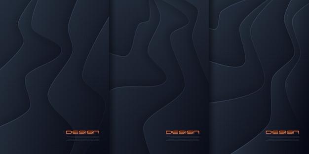Papel abstracto cortado fondos ondulados, diseños de portadas futuristas, plantillas de folletos de moda muestras globales.