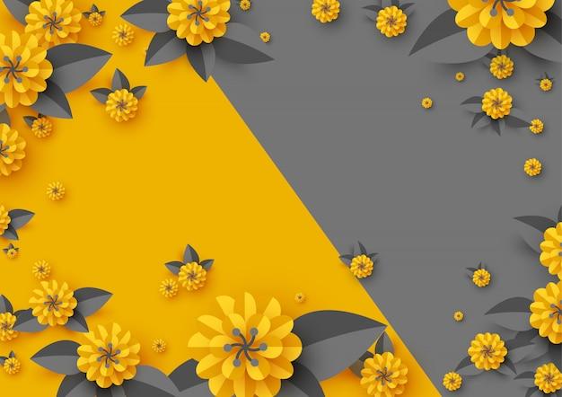 Papel abstracto flores cortadas