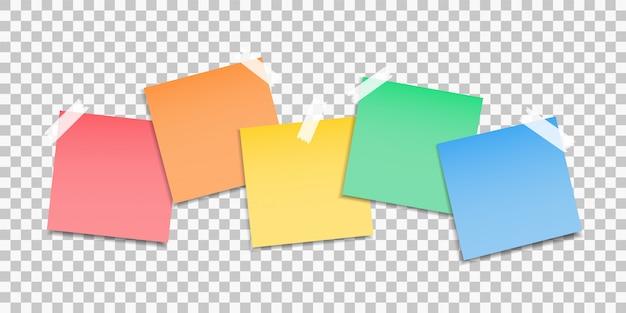 Papel adhesivo. conjunto de pegatinas notas de papel de colores. notas al mensaje.