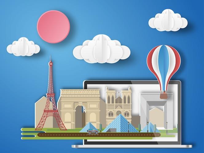 Papel arte parís, francia infografía.