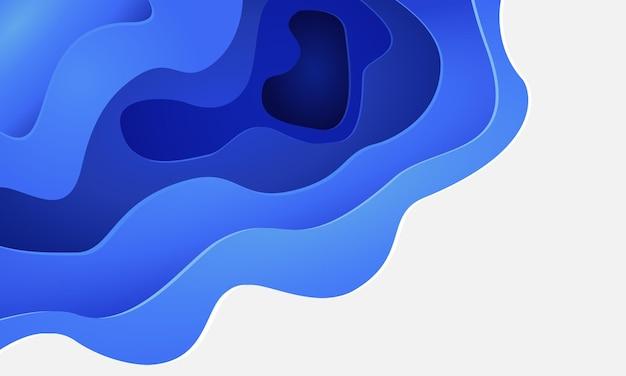 Papel blanco azul abstracto cortó capas 3d con diseño de espacio en blanco