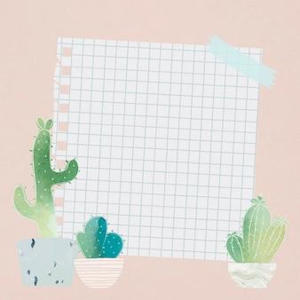 Papel en blanco con cactus