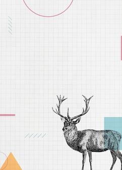 Papel en blanco con un ciervo