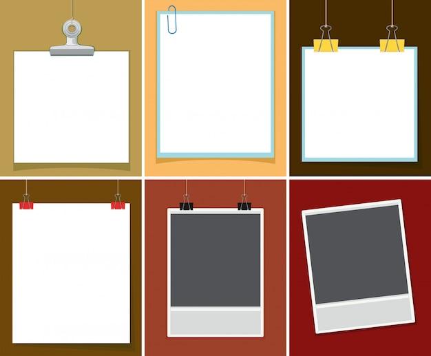 Papel en blanco con clips de papel en diferentes fondos