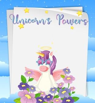 Papel en blanco con logo de poderes de unicornios en la parte superior con lindo unicornio y flores