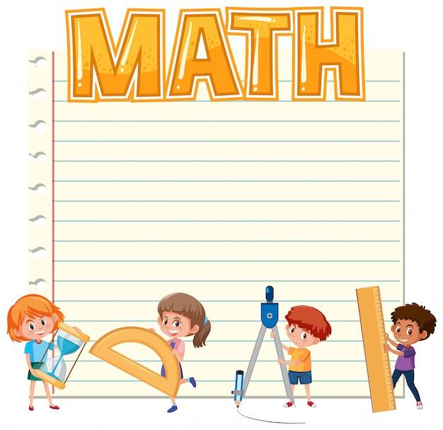 Papel en blanco con niños y equipos matemáticos