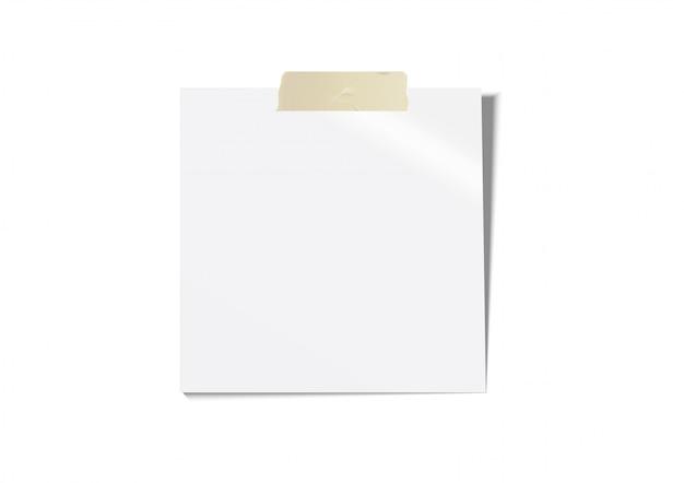 Papel blanco para notas con cinta adhesiva marrón