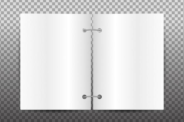 Papel en blanco realista para la decoración en el fondo transparente.