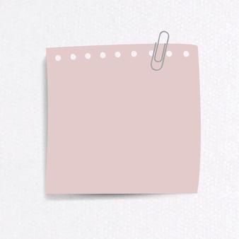 Papel de carta en blanco con clip sobre fondo de papel con textura