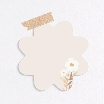 Papel de carta con forma de flor en blanco con cinta adhesiva