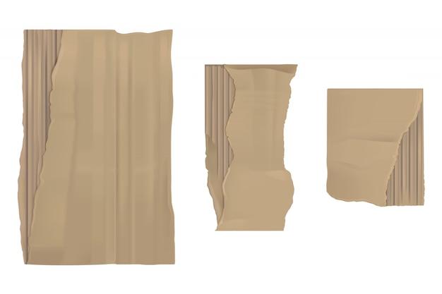 Papel de cartón rasgado. sábanas rasgadas marrones y rasgadas