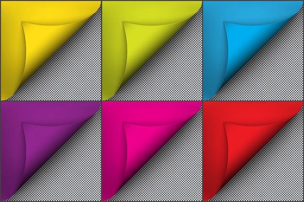 Papel de color brillante con efecto de rizo de página. aislado en el fondo blanco.