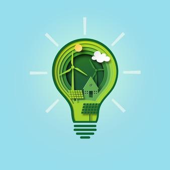 Papel cortado bombilla de ecología verde y conservación del medio ambiente.