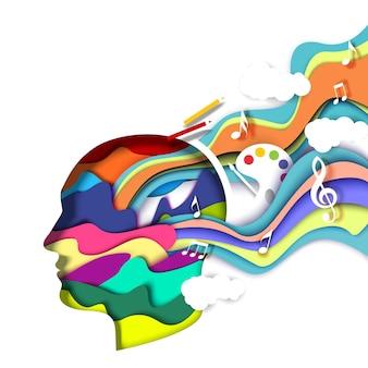 Papel cortado cabeza de hombre con formas abstractas vibrantes ilustración vectorial arte de la mente creativa pensando creat ...