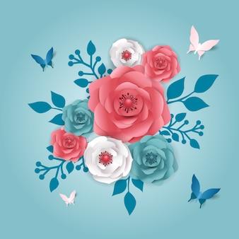 Papel cortado estilo banner con flor, mariposa.