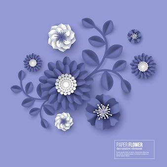 Papel cortado flor color azul.