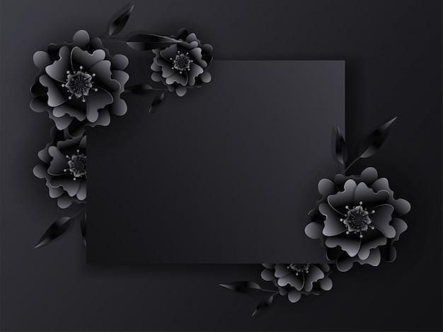 Papel cortado flores y hojas decoradas fondo negro