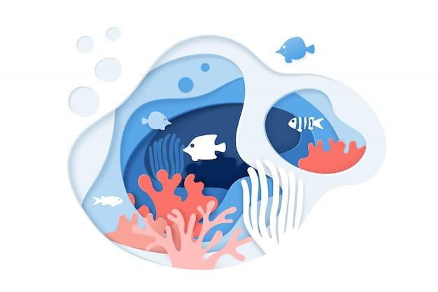 Papel cortado fondo del océano bajo el agua con arrecifes de coral, peces, algas, burbujas y olas.
