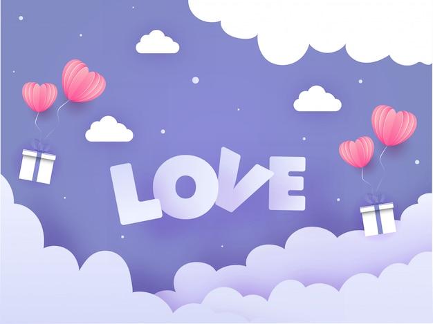 Papel cortado fondo púrpura nublado decorado con origami globos en forma de corazón y cajas de regalo para el concepto de amor.