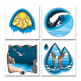 Papel cortado ilustraciones de verano de estilo con sol, nubes, surfista en alta ola oceánica, playa de mar, rocas, aves y cascada.