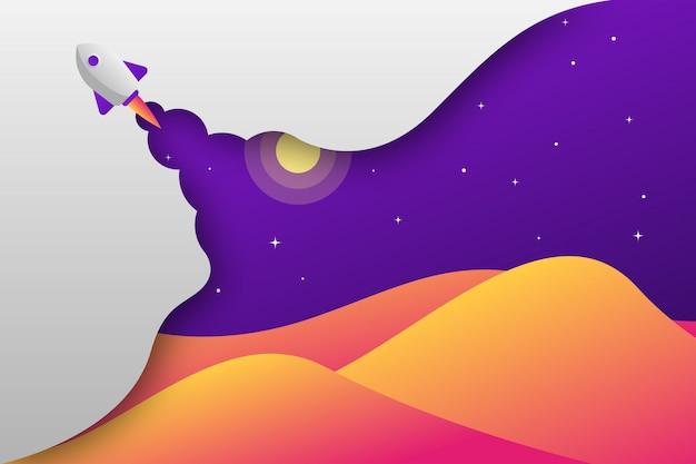 Papel cortado montaña cohete en la noche ilustración