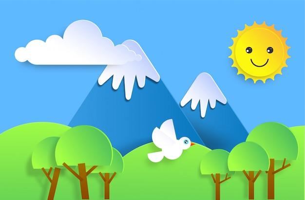 Papel cortado con nubes, montañas, pájaros, árboles y sol sonriente