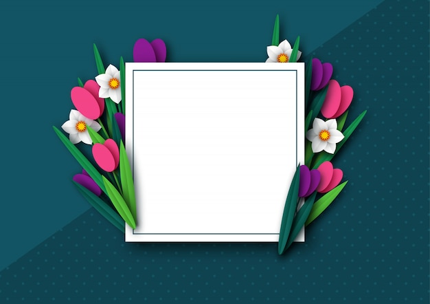 Papel cortado primavera flores tulipán y narcisos.