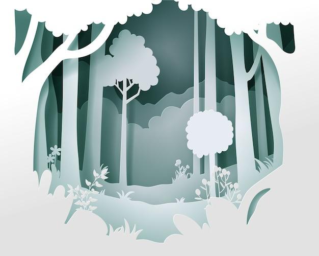 Papel cortado vector paisaje con bosque profundo.