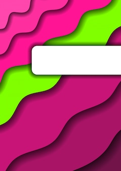 Papel cortado verde y rosa olas y sombras de fondo