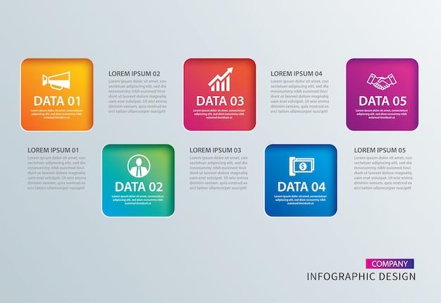 Papel cuadrado de infografía con plantilla de datos 4.