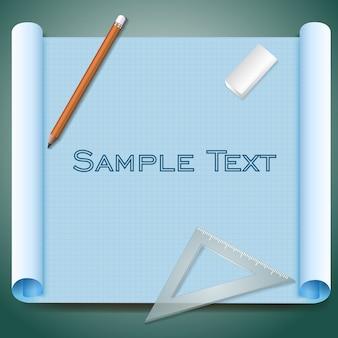 Papel cuadriculado de arquitecto con borrador de lápiz de texto de muestra e ilustración de regla triangular