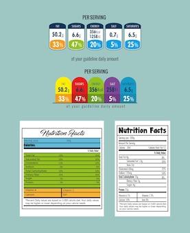 Papel con diseño de ilustración del vector de hechos de nutrición