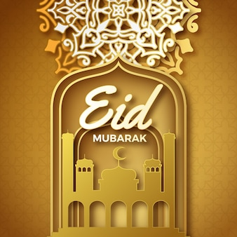 Papel estilo eid mubarak con mezquita y adorno